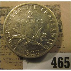 1900 France Silver Two Francs. Y64.