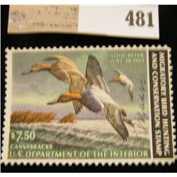 1982 Federal Migratory Waterfowl Stamp, Artist signed. RW49.