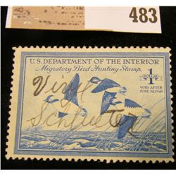 1948 One Dollar Federal Migratory Waterfowl Stamp, signed. RW15.