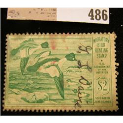 1949 Two Dollar Federal Migratory Waterfowl Stamp, signed. RW16. Stained.