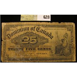 """January 2nd, 1900 """"Dominion of Canada"""" .25c Fractional Bank Note."""