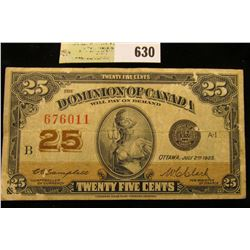 """July 2nd, 1923 """"Dominion of Canada"""" 25c Fractional Banknote."""