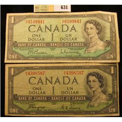 Pair of 1954 Bank of Canada One Dollar Banknotes.