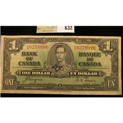 """January 2nd, 1937 """"Bank of Canada"""" One Dollar Banknote. Very nice grade."""