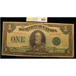 """Series  1923 """"The Dominion of Canada"""" One Dollar """"Horse Blanket"""" Banknote, Nice AU."""