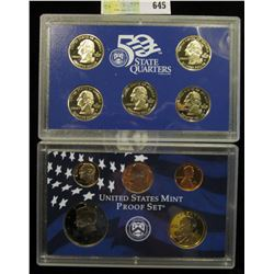 2003 S U.S. Proof Set, Original as issued. A nice attractive set with all coins exhibiting Cameo Fro