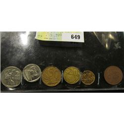 Six-piece South Africa Type Set of Coins. 5c to 2 Rand.