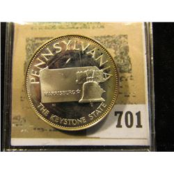 """""""Pennsylvania The Keystone State"""" So-called Half-Dollar. Sterling Silver Proof, 32mm, 13.66 grms."""