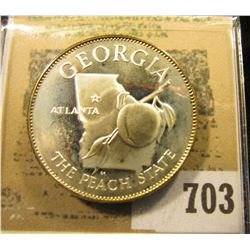"""""""Georgia The Peach State""""  So-called Half-Dollar. Superb Sterling Silver Proof, 32mm, 14.21 grms."""