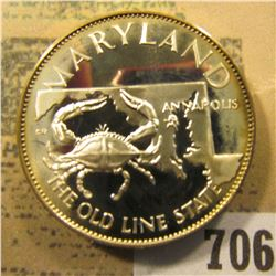 """""""Maryland  The Old Line State""""  So-called Half-Dollar. Superb Sterling Silver Proof, 32mm, 13.69 grm"""