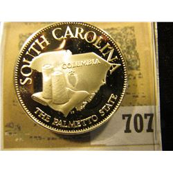 """""""South Carolina  The Palmetto State""""  So-called Half-Dollar. Superb Sterling Silver Proof, 32mm, 13."""