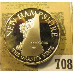 """""""New Hampshire The Granite State""""  So-called Half-Dollar. Superb Sterling Silver Proof, 32mm, 14.15"""