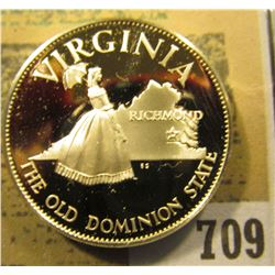"""""""Virginia The Old Dominion State"""" So-called Half-Dollar. Superb Sterling Silver Proof, 32mm, 13.82 g"""