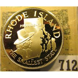 """""""Rhode Island the Smallest State"""" So-called Half-Dollar. Superb Sterling Silver Proof, 32mm, 13.72 g"""