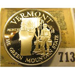 """""""Vermont the Green Mountain State"""" So-called Half-Dollar. Superb Sterling Silver Proof, 32mm, 14 gra"""