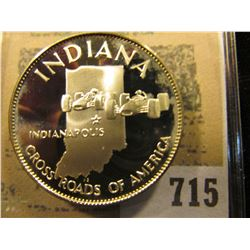 """""""Indiana Cross Roads of America"""" So-called Half-Dollar. Superb Sterling Silver Proof, 32mm, 14.35 gr"""