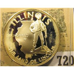 """""""Illinois the Land of Lincoln"""" So-called Half-Dollar. Superb Sterling Silver Proof, 32mm, 14.21 gram"""