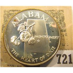 """""""Alabama the Heart of Dixie"""" So-called Half-Dollar. Superb Sterling Silver Proof, 32mm, 14.86 grams."""