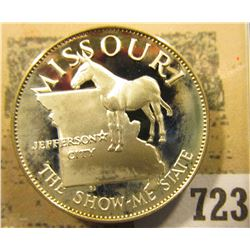 """""""Missouri the Show-me State"""" So-called Half-Dollar. Superb Sterling Silver Proof, 32mm, 13.55 grams."""