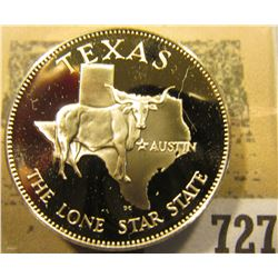 """""""Texas the Lone Star State"""" So-called Half-Dollar. Superb Sterling Silver Proof, 32mm, 13.36 grams."""