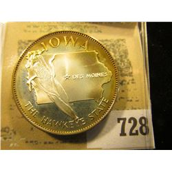 """""""Iowa the Hawkeye State"""" So-called Half-Dollar. Superbly toned Sterling Silver Proof, 32mm, 14.3 gra"""