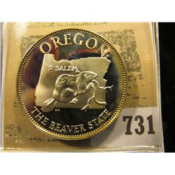 """""""Oregon the Beaver State"""" So-called Half-Dollar. Superb Sterling Silver Proof, 32mm, 13.52 grams."""