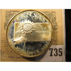 """""""Kansas The Sunflower State"""" So-called Half-Dollar. Superb Sterling Silver Proof, 32mm, 14.00 grams."""