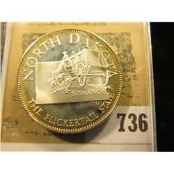 """""""North Dakota the Flickertail State"""" So-called Half-Dollar. Superb Sterling Silver Proof, 32mm, 12.8"""