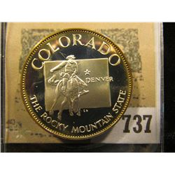 """""""Colorado the Rocky Mountain State"""" So-called Half-Dollar. Superb Sterling Silver Proof, 32mm, 14.64"""