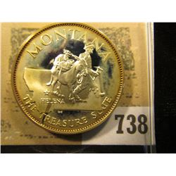 """""""Montana the Treasure State"""" So-called Half-Dollar. Superb Sterling Silver Proof, 32mm, 14.47 grams."""