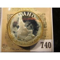 """""""Idaho the Sun Valley State"""" So-called Half-Dollar. Superb Sterling Silver Proof, 32mm, 14.17 grams."""