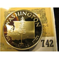 """""""Washington the Evergreen State"""" So-called Half-Dollar. Superb Sterling Silver Proof, 32mm, 14.08 gr"""