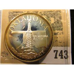"""""""Oklahoma the Sooner State"""" So-called Half-Dollar. Superb Sterling Silver Proof, 32mm, 13.66 grams."""