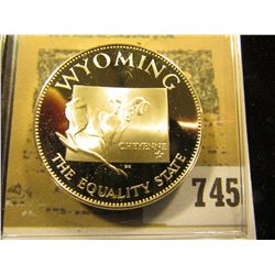 """""""Wyoming the Equality State"""" So-called Half-Dollar. Superb Sterling Silver Proof, 32mm, 13.75 grams."""