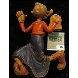 """Rare Old Vintage Rubber """"OLIVE OYL"""" (remember Popeye).  Schavoir Doll Figure w/Squeaker 8"""". This is"""