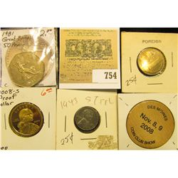 2008 Des Moiines Coin Club Show Wooden Nickel; 1981 Great Britain 50 Pence; 1943 P Steel Cent; 1 She