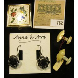 Hand-carved set of Mother-of-Pearl Cufflinks;  Anna & Ava  set of Earrings for pierced ears; & a But