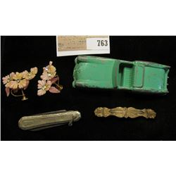 """""""Midgetoy Rockford"""" enameled metal Convertible; Gold-filled Bar Broach; Clamp on Floral Earrings; an"""