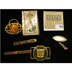 Cigarette Lighter Box with iunteresting grip; antique buckle with Victorian Ladies' portrait; Buckle