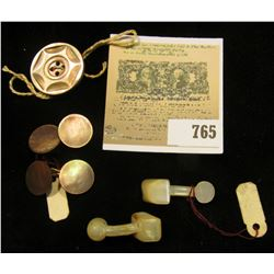 (2) Pair of Cuff Links & a button, all Abalone or Mother-of-Pearl.
