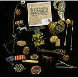 Group of Antique Jewelry, Stick Pins, Pin-backs, Buttons, and etc.