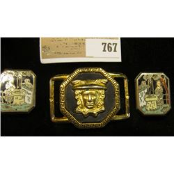 Pair of Oriental engraved and enameled Cuff-links; & an interesting Buckle with a figure with ornate