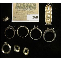"""Interesting Selection of Sterling Silver Ring mounts and a pendant """"Aarron""""."""
