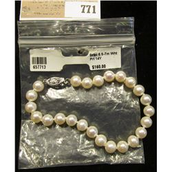 New Pearl Bracelet with 14K Gold Clasp. 6.5-7mm Pearls. Retail $160.00.
