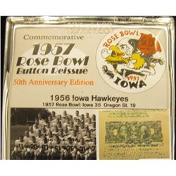 """196 of 500 """"Commemorative 1957 Rose Bowl Button Reissue 50th Anniversary Edition"""" & 1959 Rose Bowl B"""