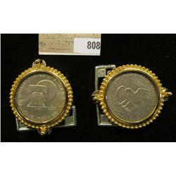 Pair of Gold-colored Belt Buckle with Eisenhower Dollars. Like new condition.