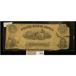 """Jan. 7, 1859 """"Oskaloosa State Bank of Iowa"""" Five Dollar Banknote, this is the variety with the backw"""