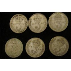 (6) 1926 Silver Great Britain Three Pence Coins.