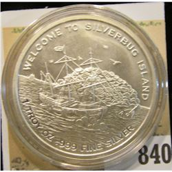 """2016 """"Welcome to Silverbug Island 1 Troy oz..999 Fine Silver"""" Depicts a Pirate Ship, Mermaid with ch"""