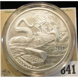 """2016 """"Welcome to Silverbug Island 1 Troy oz..999 Fine Silver"""" Obv. depicts a Pirate Ship attacked by"""